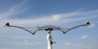A measuring robot outdoors